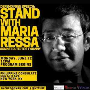 New York June 22: Stand with Maria Ressa against Duterte's tyranny
