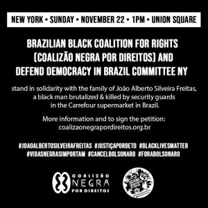 #BlackLivesMatter #VidasNegras Importam - NY Solidarity with Brazil, Nov. 22