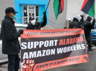 Brooklyn solidarity with Amazon workers in Alabama.