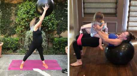 Prenatal and Postnatal workout with exercise ball