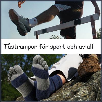 tåstrumpor för sport och av ull