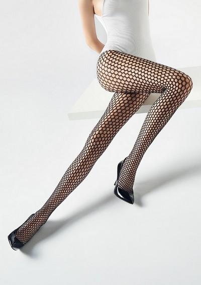 Weiche Netzstrumpfhose mit nahtlosem Höschenteil Charly von Marilyn, schwarz, Gr. S/M