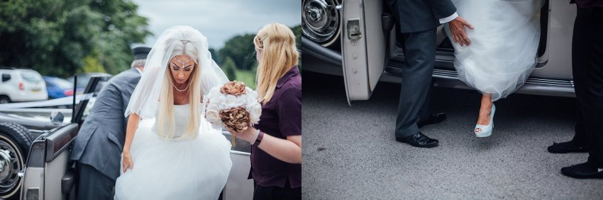 bride exits wedding car