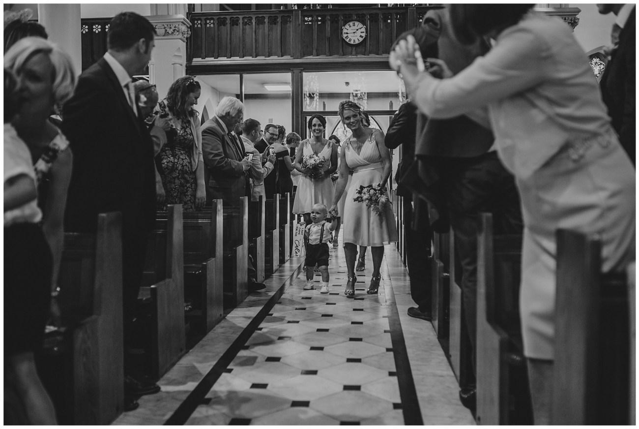 bridesmaids arrive