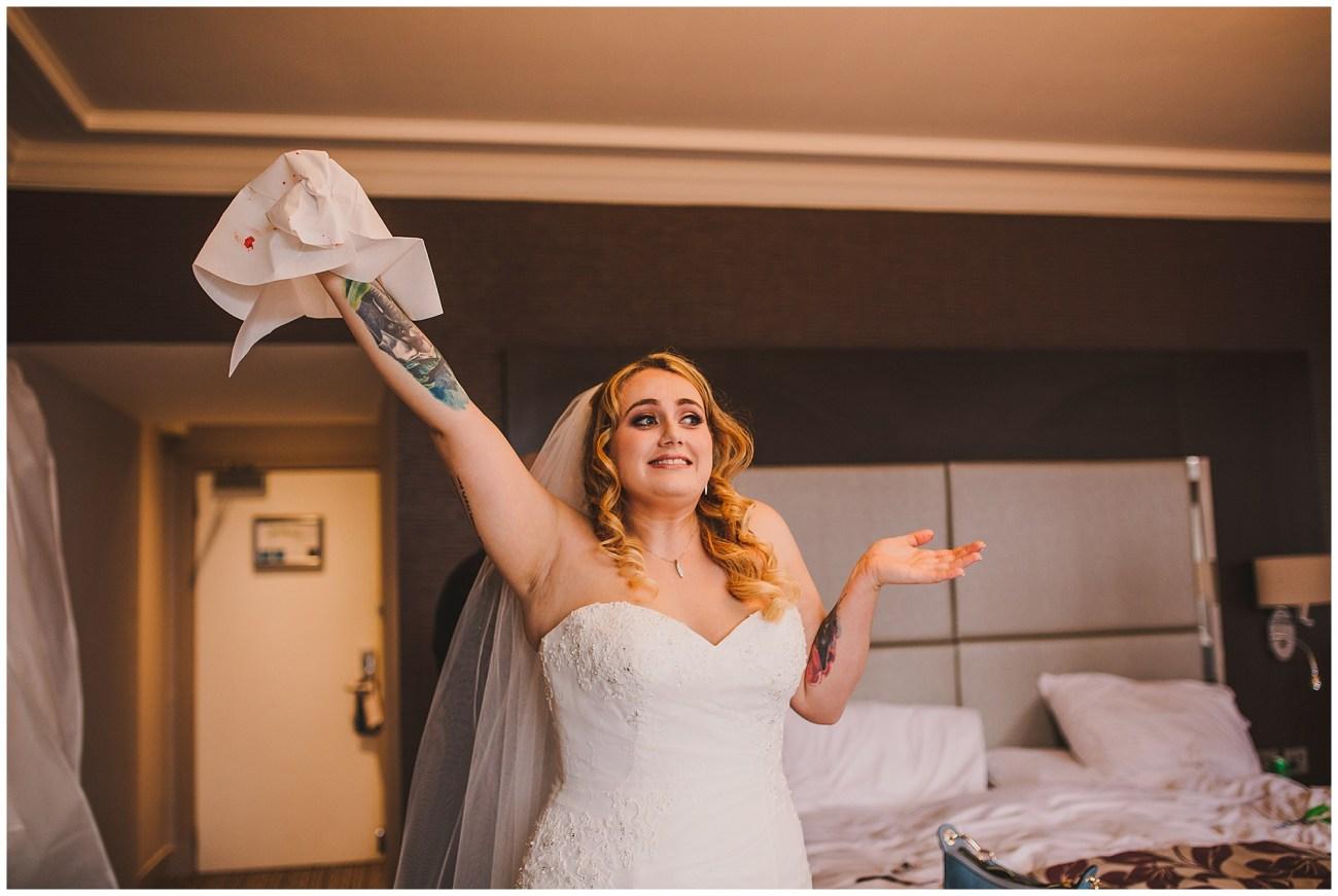 bride cut her finger