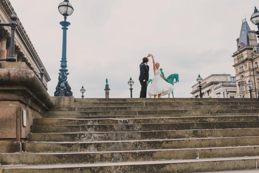 st georges hall steps wedding