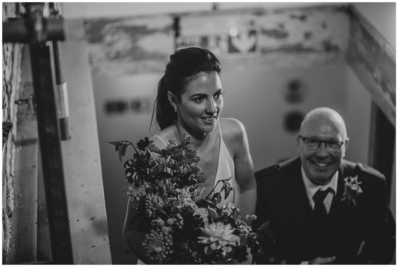 brides arrival with dad