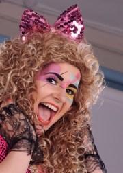 1980s pink sequin hair bow headband