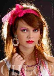 80s neon pink fancy dress lace