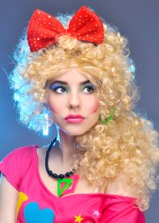 1980s red fancy dress hair bow