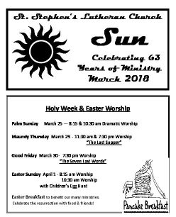 March 2018 Newsletter Cover Page