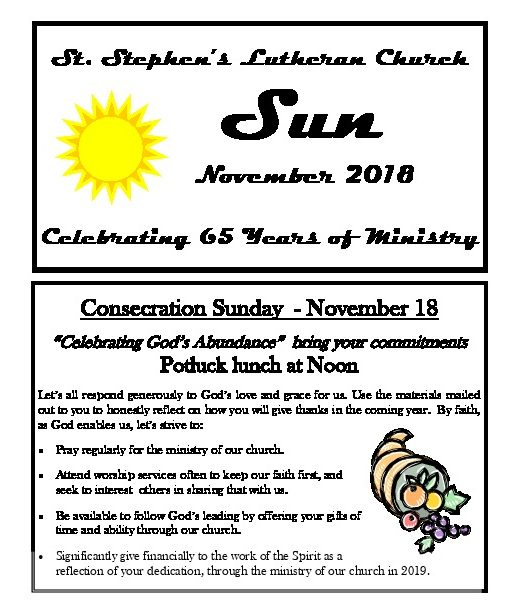 November 2018 Newsletter Cover