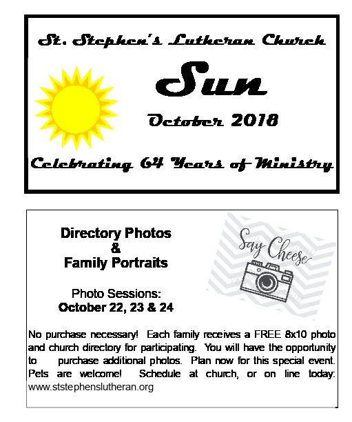 October 2018 Newsletter Cover