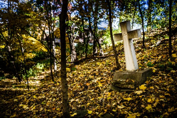 One of the stations of the cross below the Grotto. (Photo by Mike Ekern '02)