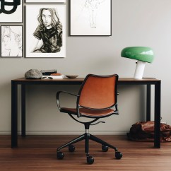 Table With Swivel Chairs Office Chair Drawing Stua Gas Castors Black Frame In Cognac Leather