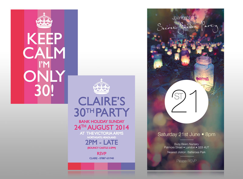 birthday party invite for 30th birthday and 21st birthday contemporary modern
