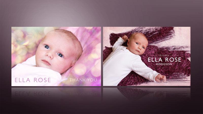 baby thank you card design modern pink