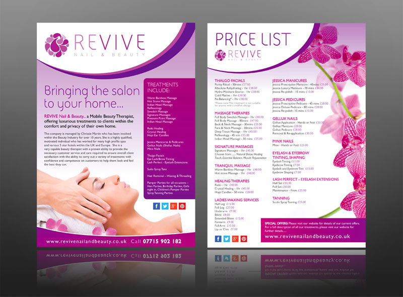 Creative Leaflet & Marketing Design Work For Spas And The