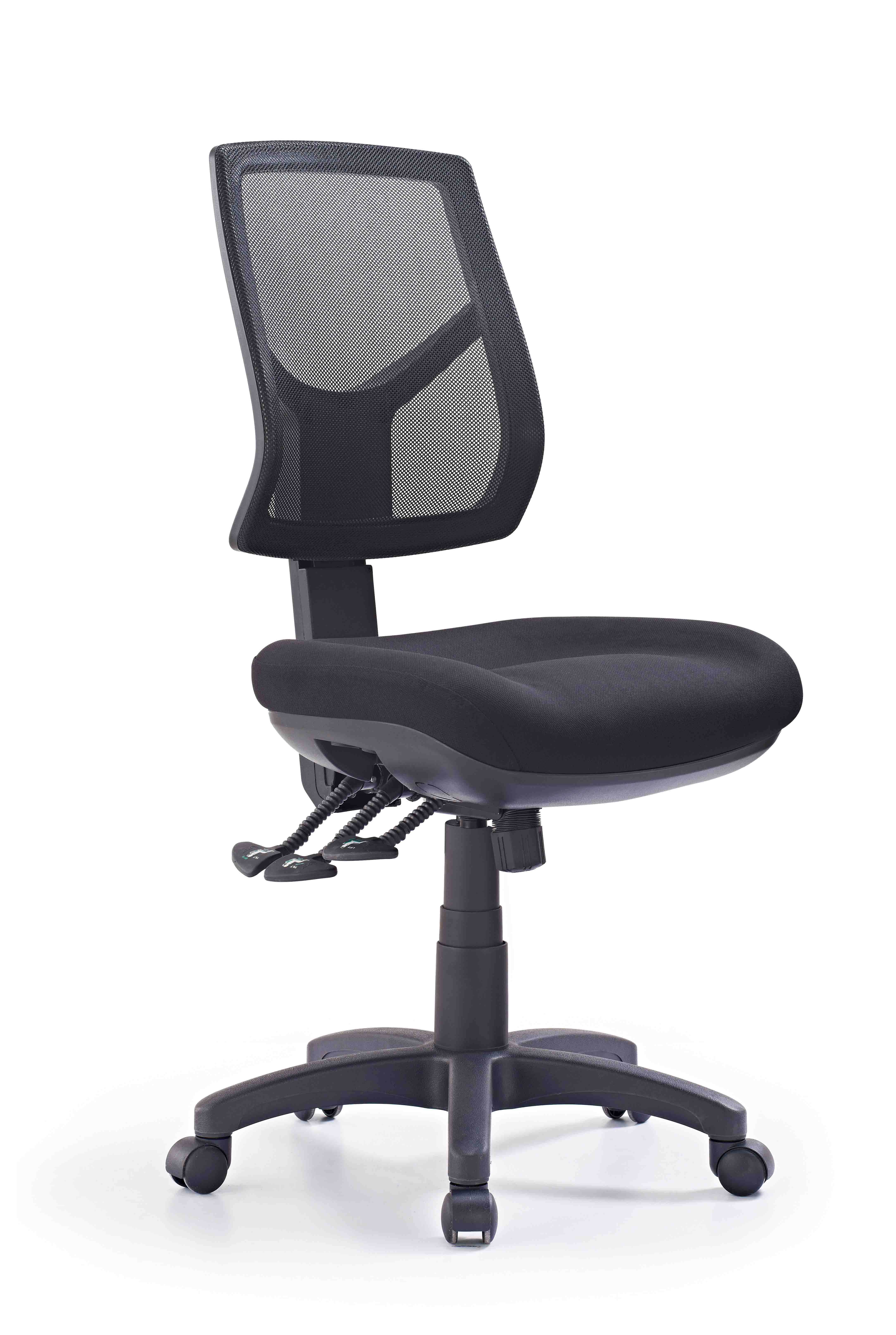 office chair without arms tv ikea hino mesh high back black fabric