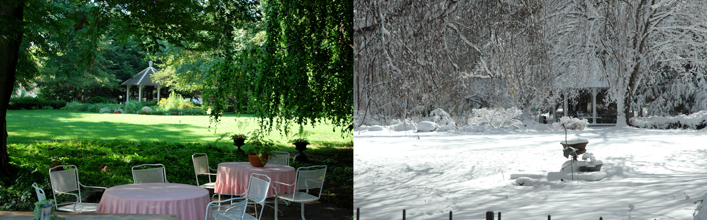 Split screen with garden view of summer patio with tables and chairs overlooking green lawn and shaded gazebo next to image of same lawn and gazebo covered in snow
