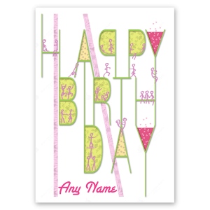 happy birthday card party in letters pink bth029
