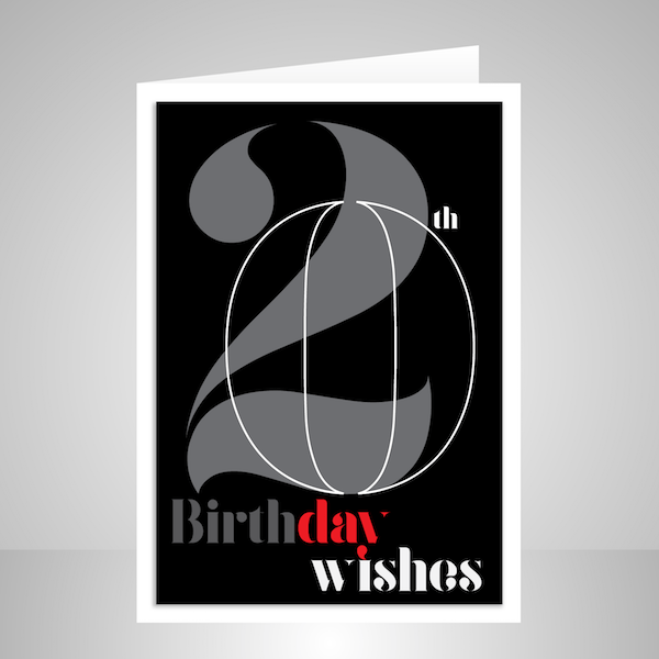 20th Birthday Wishes Card Black Typography For Him Or Her Bth105a Display