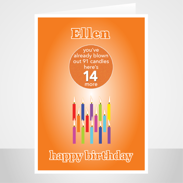 funny 14th birthday card edit name for boy or girl candles bth245 display