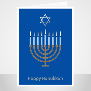 hanukkah card edit name menorah candles david star han001 display 1