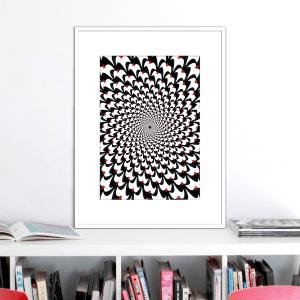 birds optical illusion print p0024 white frame