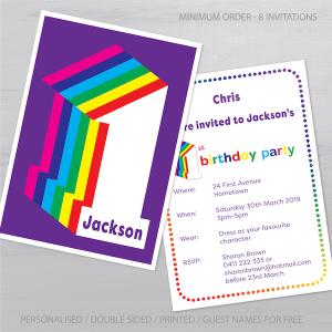 1st birthday invitation for boy girl rainbow inv001 display