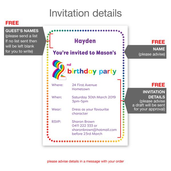 2nd birthday invitation boy girl rainbow inv002 inside options new
