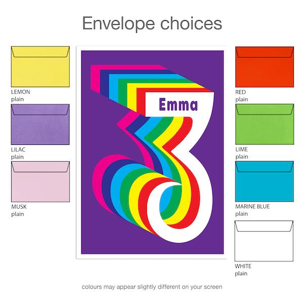 3rd birthday invitation boy girl rainbow inv003 envelope choices