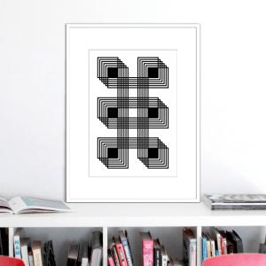 six black squares optical illusion stuartconcepts print p0025 white frame