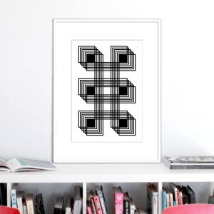 six black squares optical illusion stuartconcepts print p0025 white frame