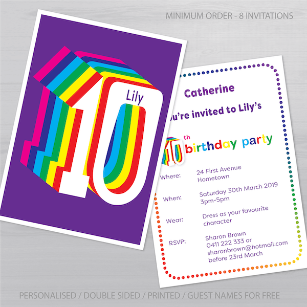 10th birthday invitation inv010 display