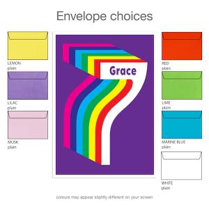 7th birthday invitation inv007 envelope choices
