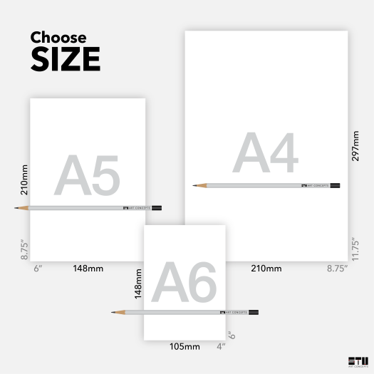 Choose from 3 card sizes A6 small card A5 medium card A4 large card