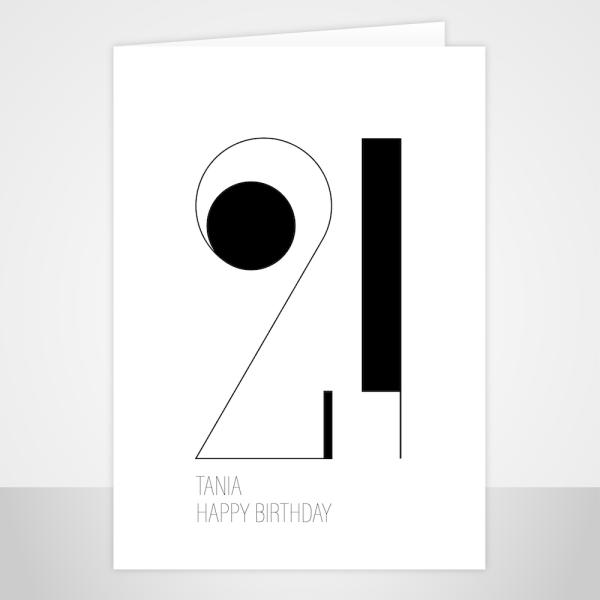 21st birthday card minimalist bb036 display sac