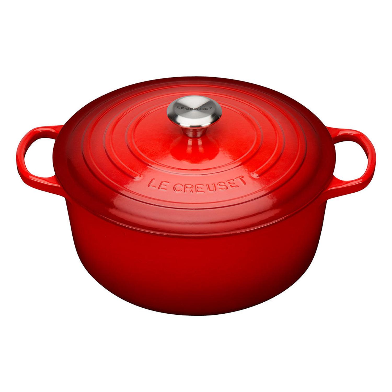 le creuset signature cast iron 20cm round casserole dish in cerise