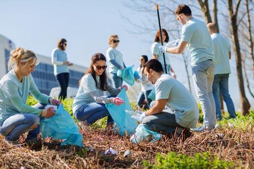stubby holders at work community service teamwork