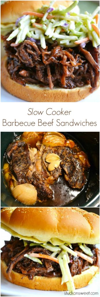 Slow Cooker Barbecue Beef Sandwiches | stuckonsweet.com