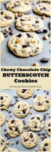The BEST cookie out there! These Chewy Chocolate Chip Butterscotch Cookies are to die for!