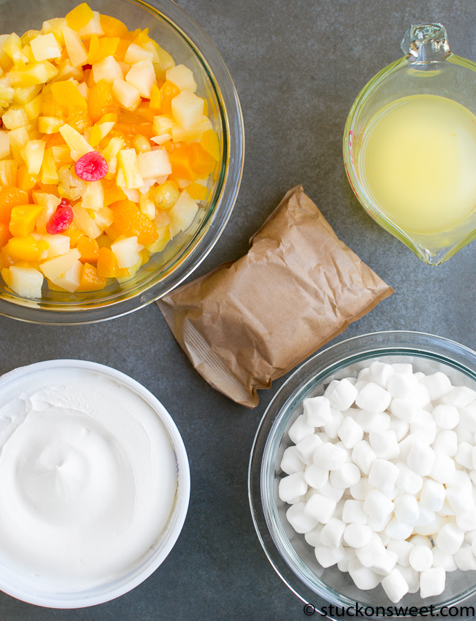 Fruit Fluff Salad Ingredients. So easy!
