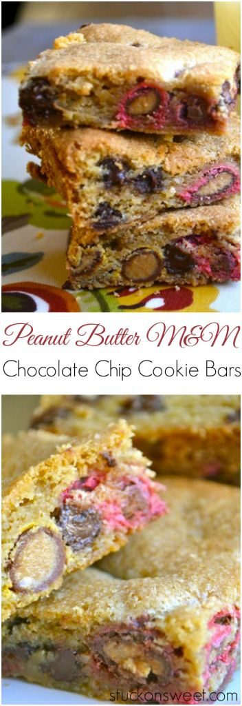 Peanut Butter m&m Chocolate Chip Cookie Bars | stuckonsweet.com