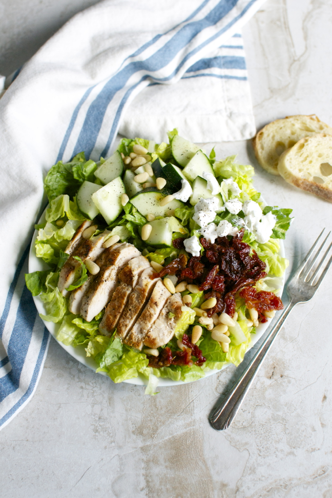 Salad with Chicken, Sun Dried Tomatoes, Goat Cheese, Cucumnber & Pine Nuts | www.stuckonsweet.com