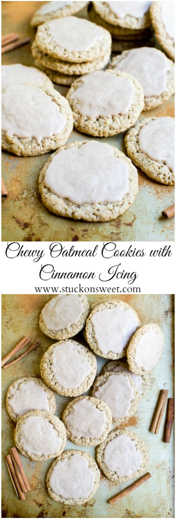 Chewy Oatmeal Cookies with Cinnamon Icing