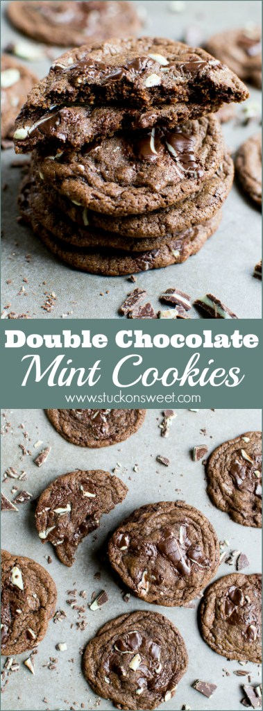 Love these Double Chocolate Mint Cookies made with Andes Mints! One of my favorite cookie recipes! | www.stuckonsweet.com