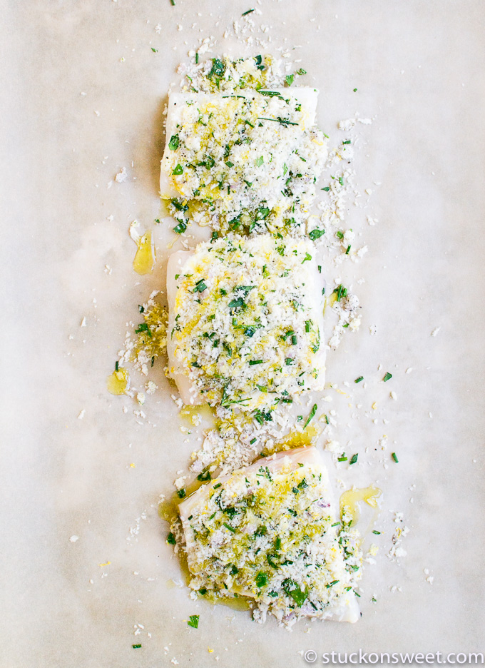Baked Halibut with a crust