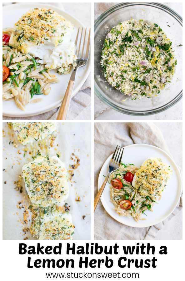 Baked Halibut with a Lemon Herb Crust - this recipe is awesome! #stuckonsweet #halibut #recipe #dinner