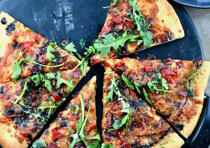 Roasted Red Pepper Bacon And Arugula Pizza With Balsamic Glaze Stuck On Sweet